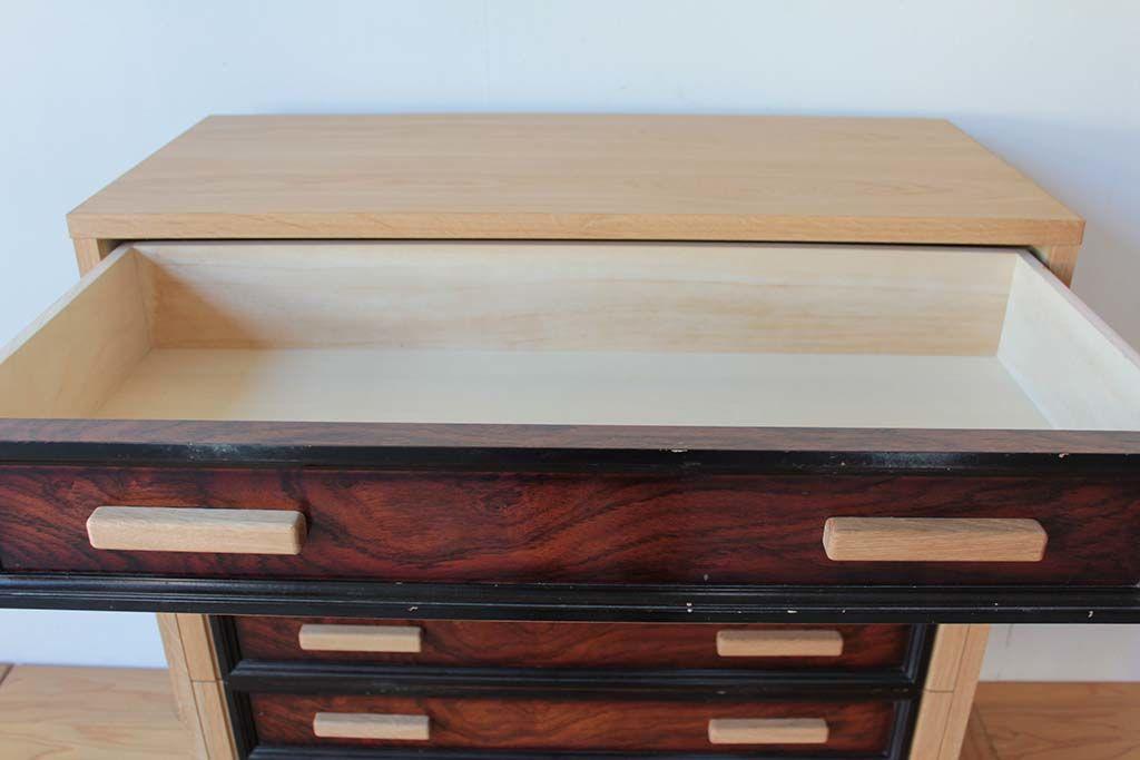 婚礼家具整理箪笥を6段チェストにリメイク引出し内部