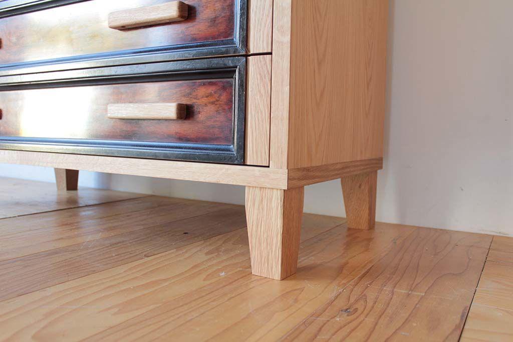 婚礼家具整理箪笥を6段チェストにリメイクオーク材脚