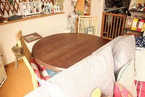無垢オークの半円ダイニングテーブルを一回り小さく&インダストリアルスタイルにリメイク アイキャッチ