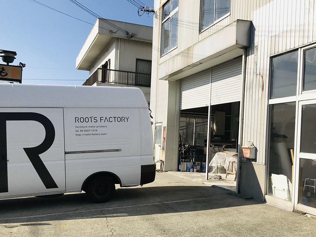 ルーツファクトリーの家具製作をする淡路島工房オニオンベース入り口