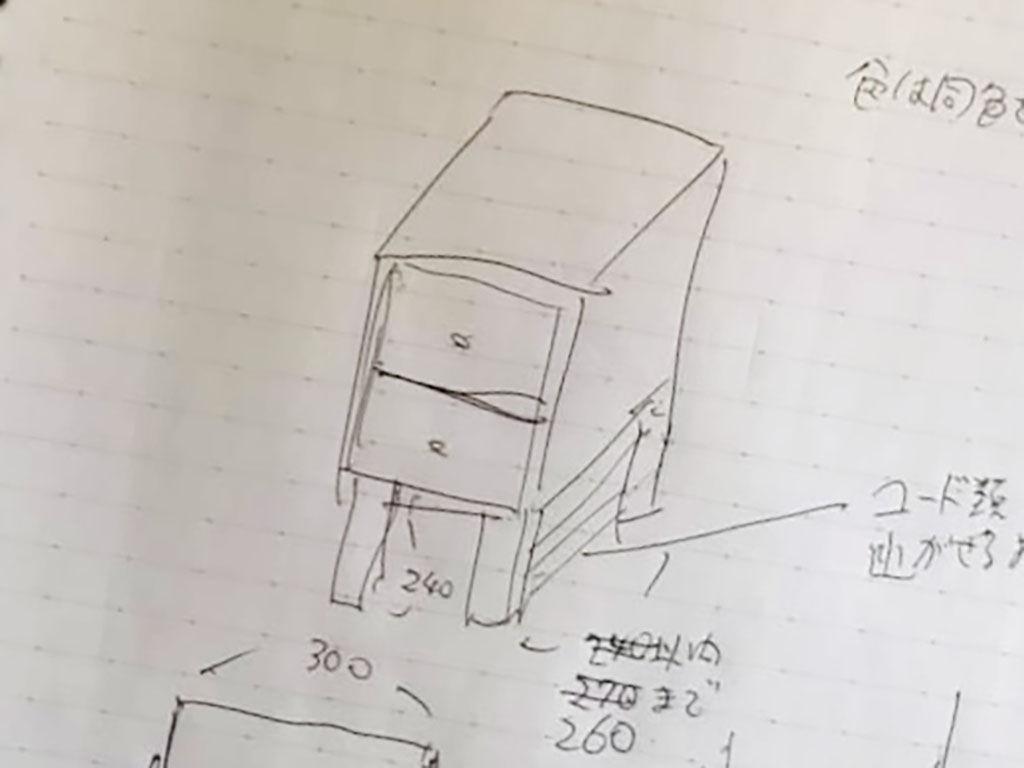 お客様との家具のリメイクお打ち合わせの際のメモ