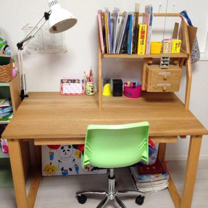 無垢オーク材製の学習机 家具オーダーメイド事例:M003
