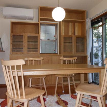 オークの壁面カップボード 家具オーダーメイド事例:M005