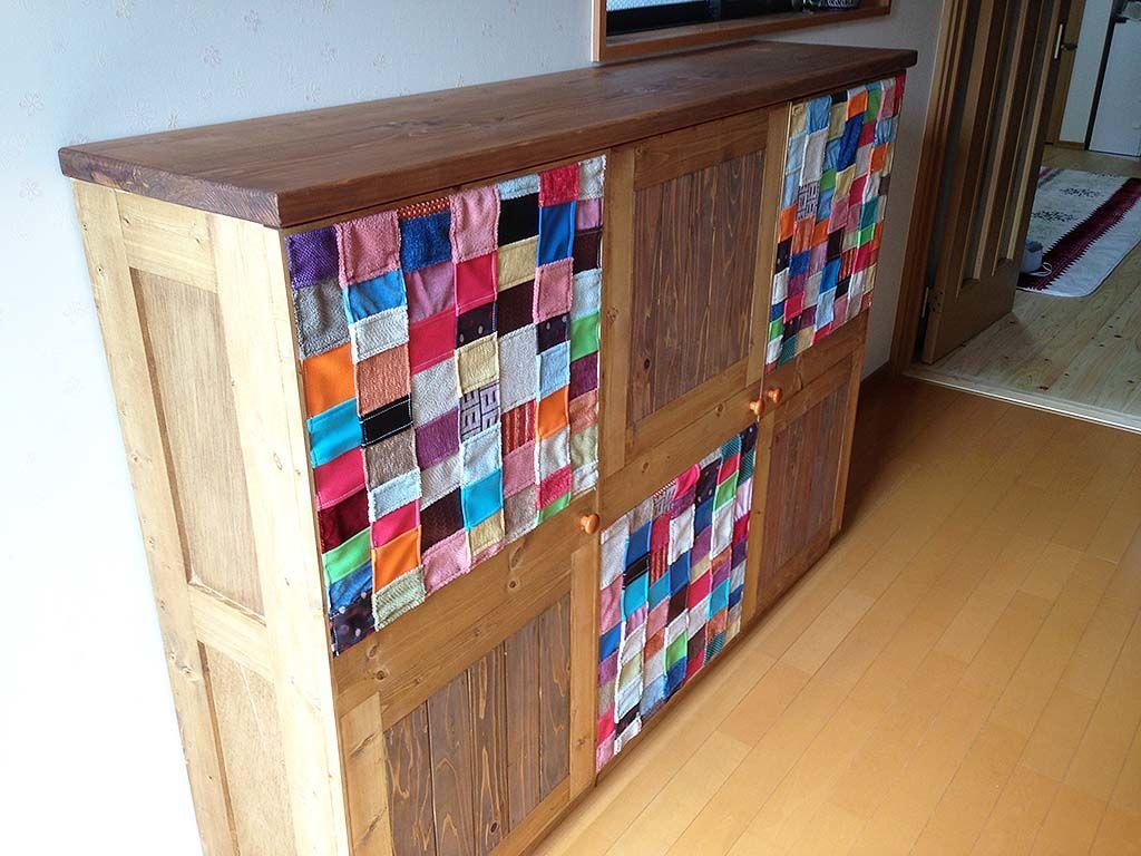 つぎはぎファブリックのシューズボックス 家具オーダーメイド事例:M012