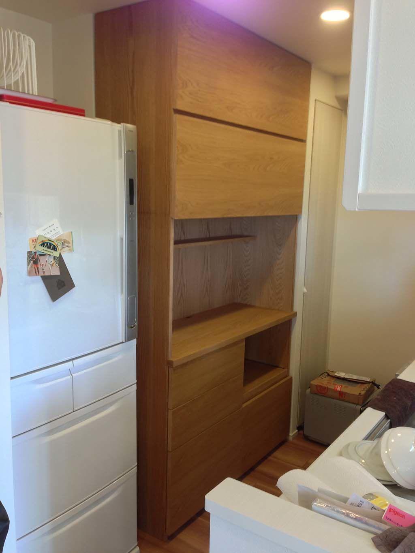 オーク材のキッチンボード 家具オーダーメイド事例:M015