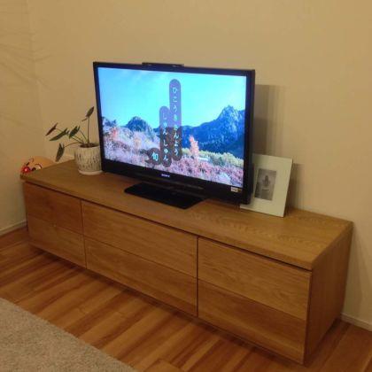 オーク材のナチュラルモダンなテレビボード 家具オーダーメイド事例:M016