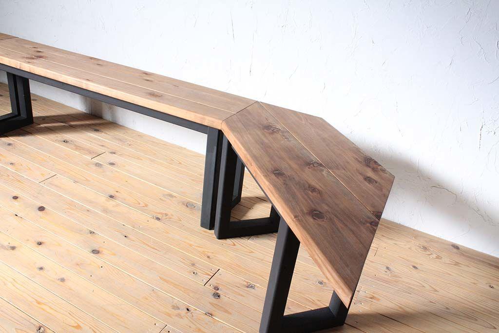 壁面テーブル無垢天板コーナー