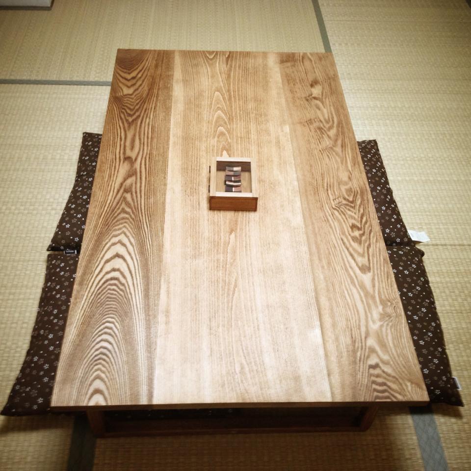 無垢オークの座卓オーダーメイド事例:M025