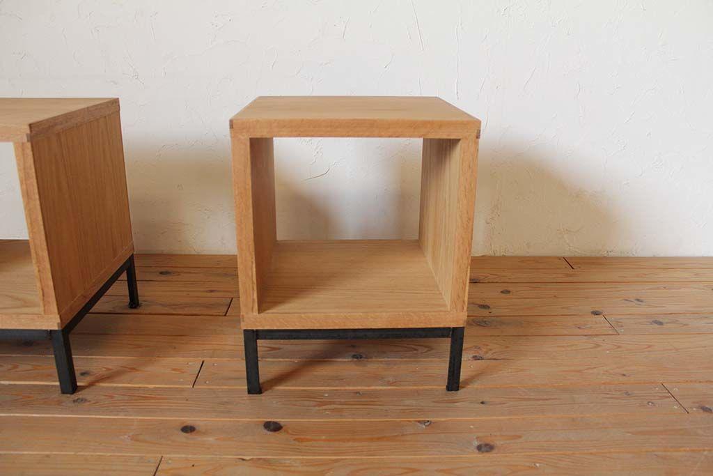 オーク材収納付きローテーブル