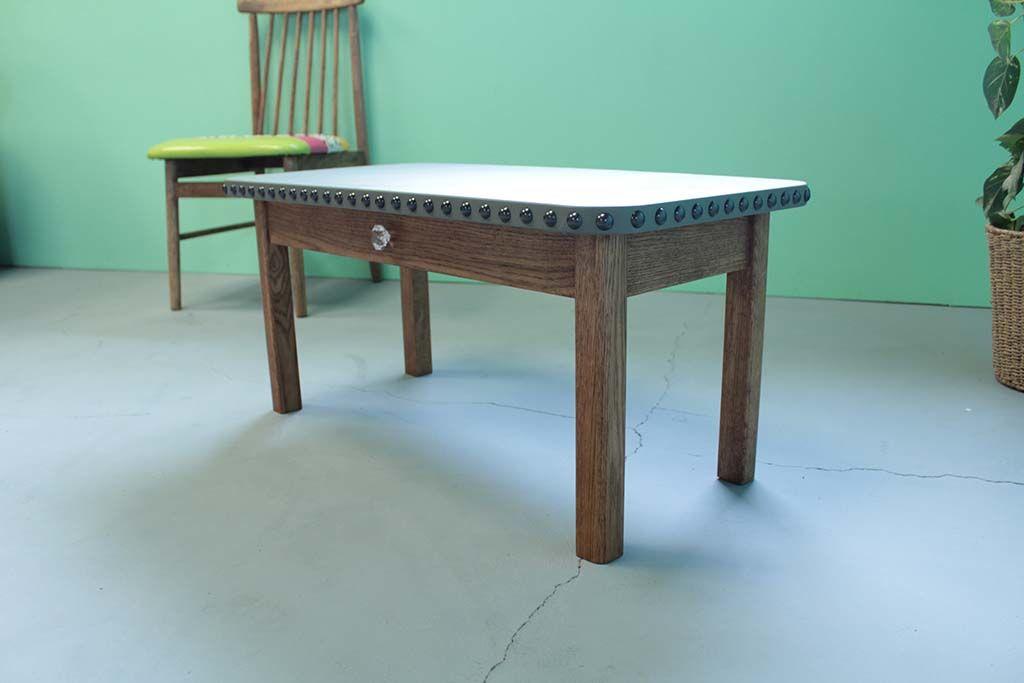無垢オーク材とレザー天板のローテーブルオーダーメイド事例:M035