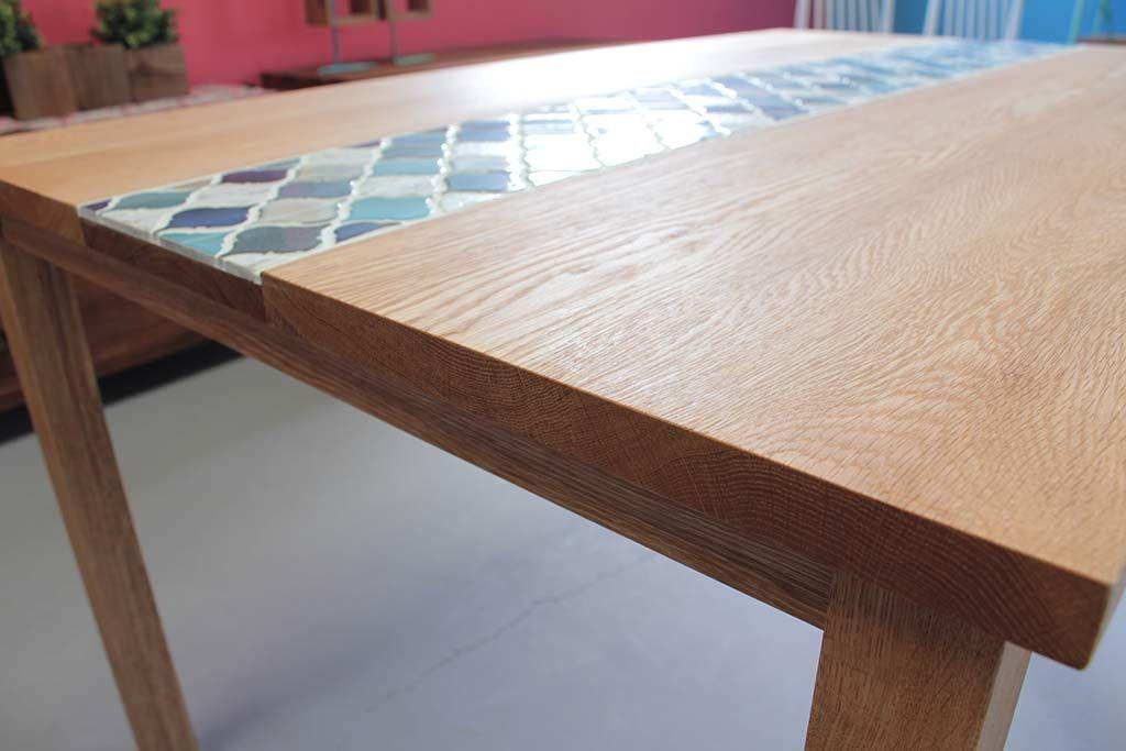 天板無垢オーク材のナチュラルオイル仕上げ