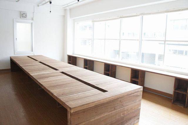 無垢材の6mの大きなオフィステーブルオーダーメイド事例:M046