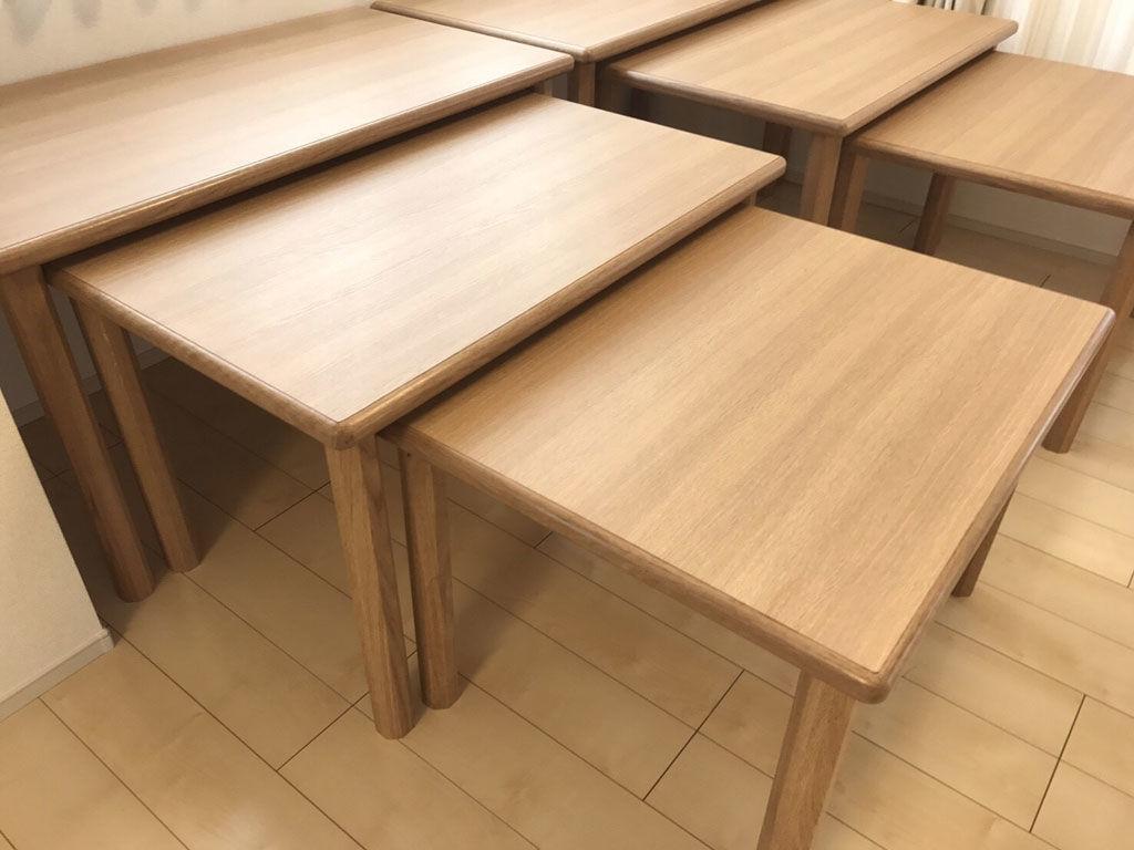 3サイズのネストテーブルナチュラル仕上げ