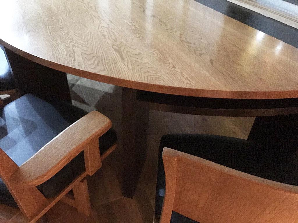 無垢オーク材半円ダイニングテーブルオーダーメイド事例:M060