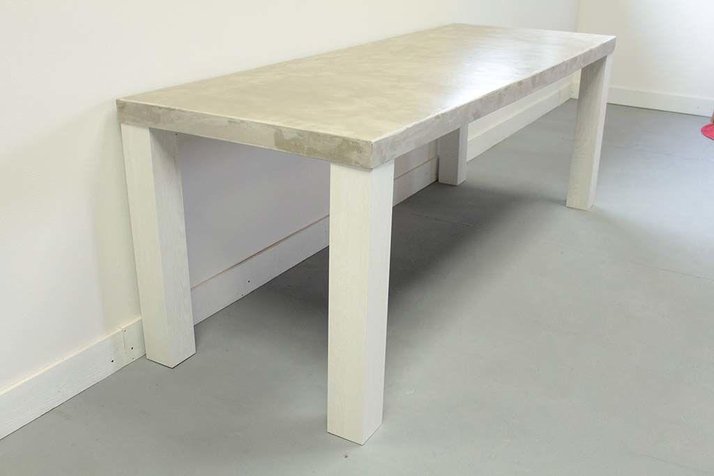 セメント天板白色脚ダイニングテーブル