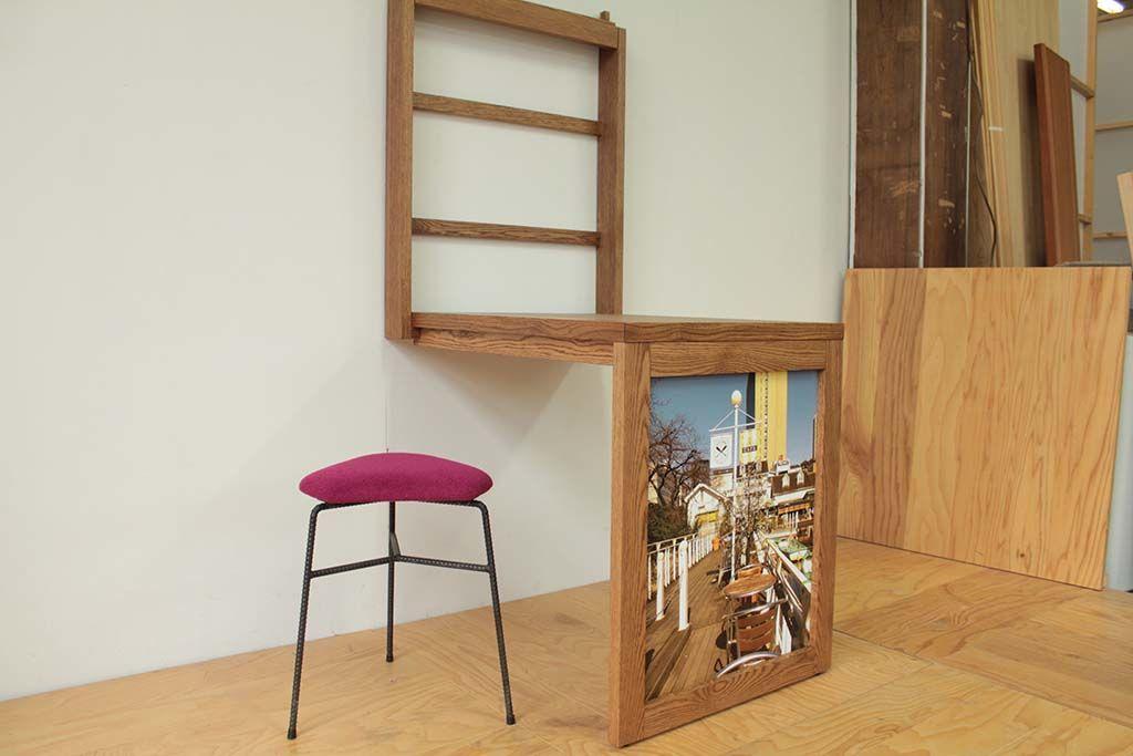 壁面収納テーブルとデルタスツール
