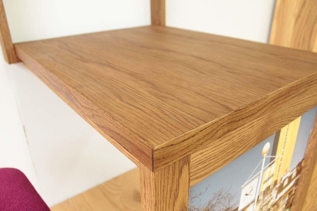 壁面収納テーブル天板オーク材ダーク色仕上げ