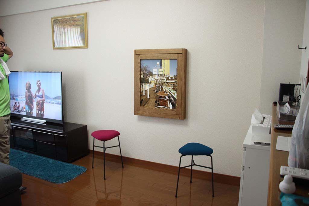 額縁がテーブルに!壁面収納ダイニングテーブルオーダーメイド事例:M080