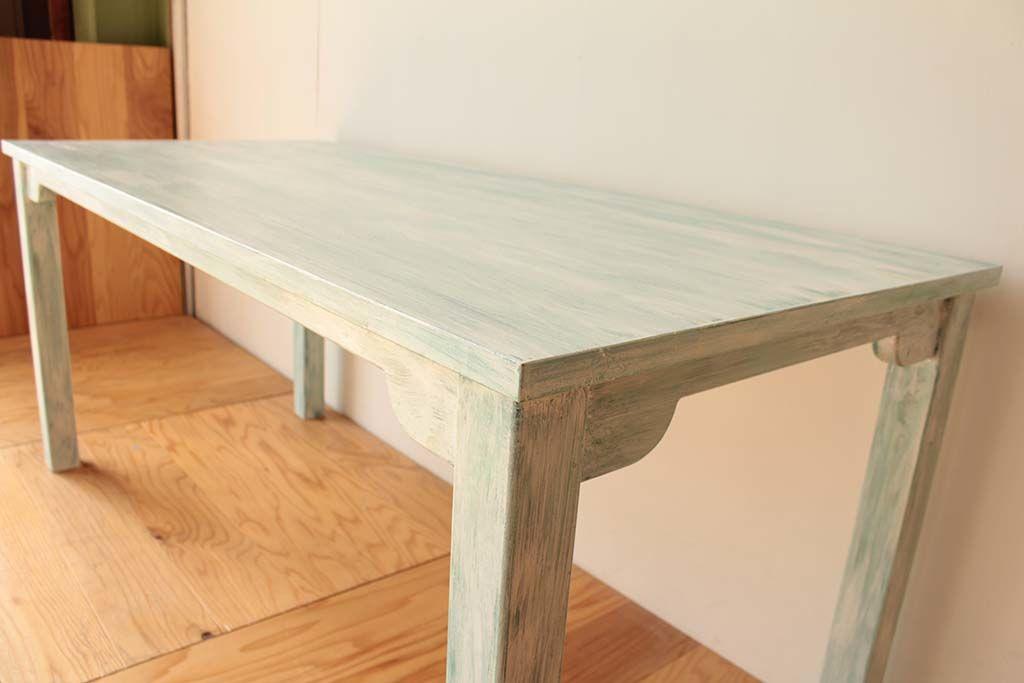 店舗用白色シャビーヴィンテージ加工テーブル