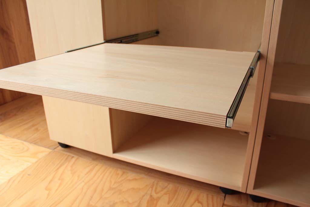 大きな移動式のキッチンワゴンスライド式テーブル