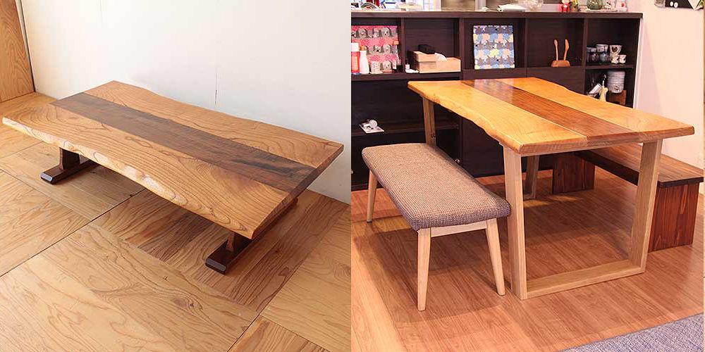 無垢天板のローテーブルをダイニングテーブルに 家具リメイク事例:R280 Before & After