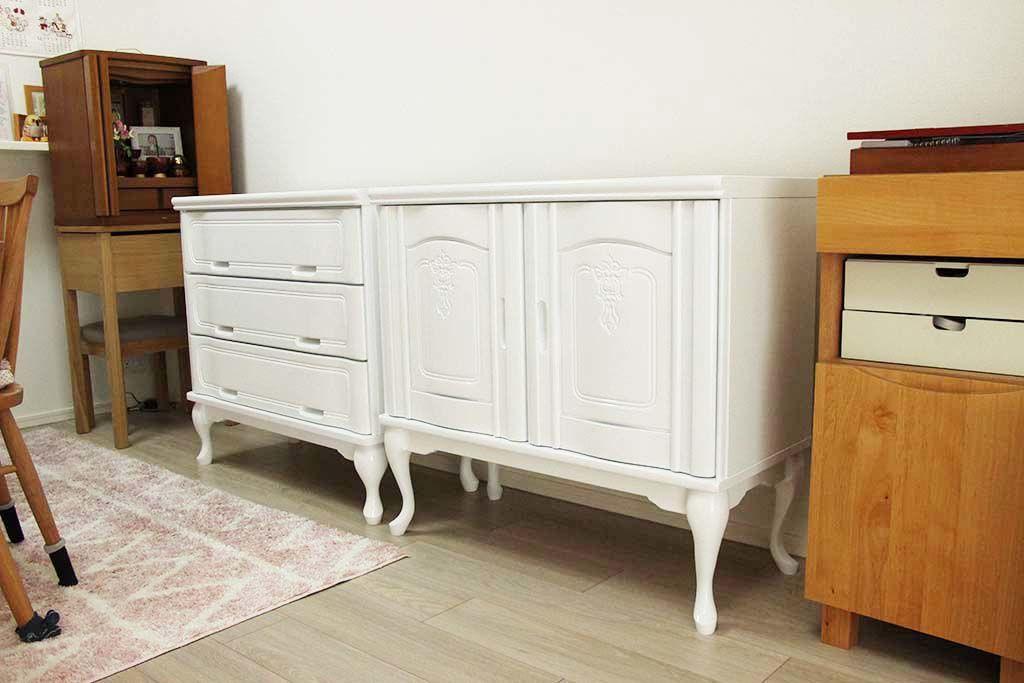 婚礼家具整理箪笥をホワイト猫脚チェストへリメイク納品画像