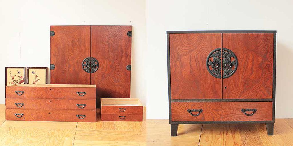 婚礼家具の和タンスをナイトテーブルに 家具リメイク事例:R306 Before&After