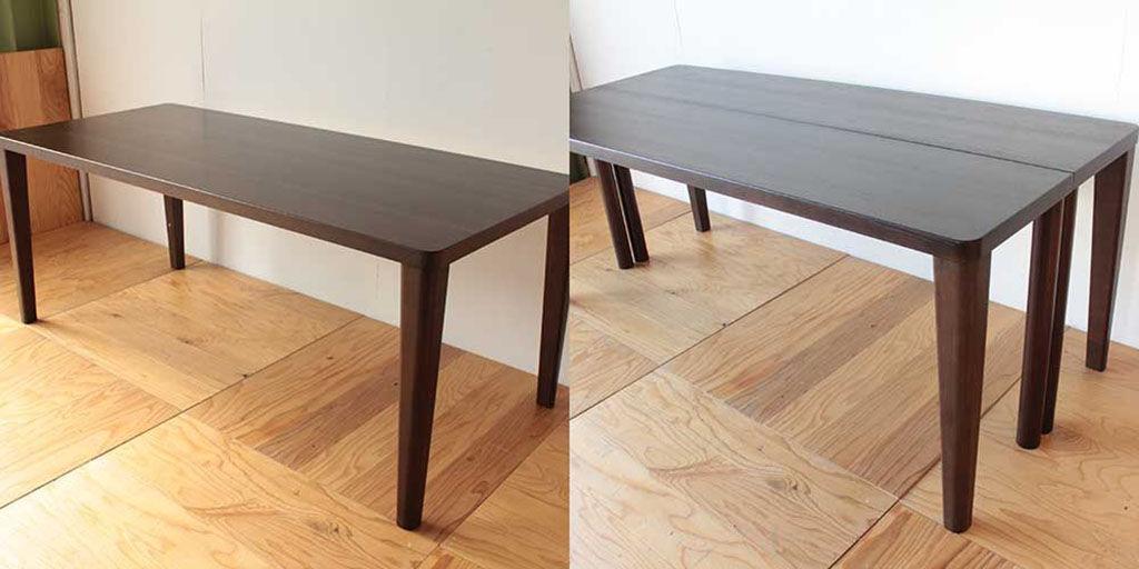 ダイニングテーブルを2台のデスクに分割リメイク ビフォーアフター