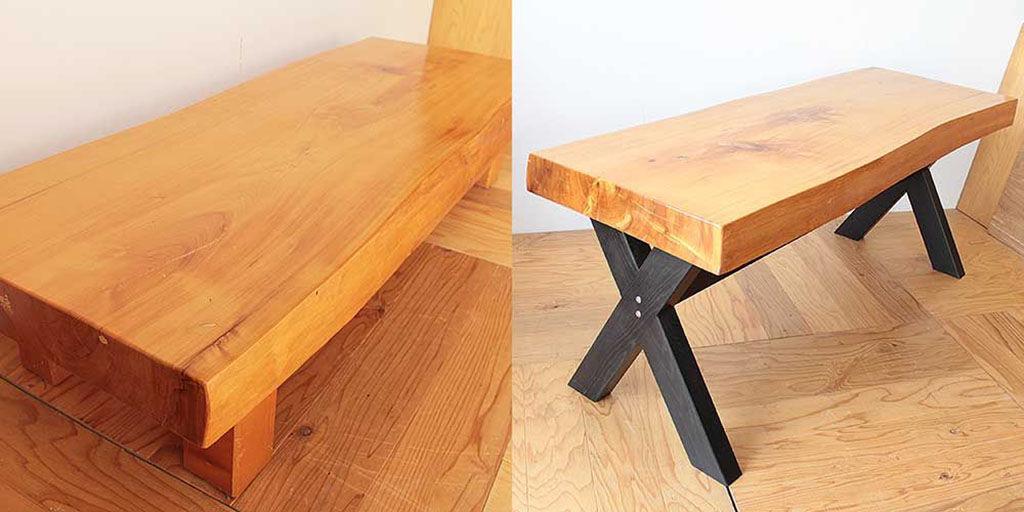 無垢一枚板の座卓をダイニングテーブルにリメイク ビフォーアフター