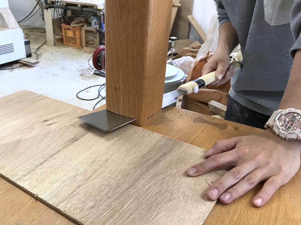 機械で刃が届かなかった部分は手鋸でカット