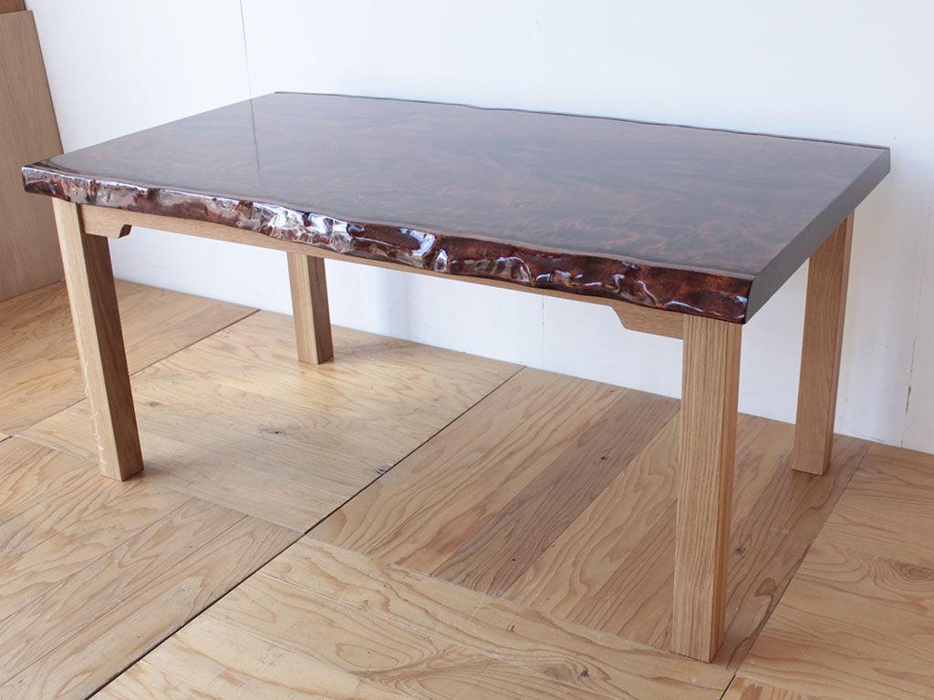 無垢一枚座卓の天板を生かしてダイニングテーブルにリメイク アフター