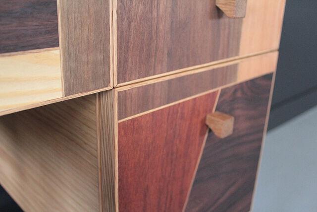 ドレッサーウォールナット材やチェリー材のモザイク貼り