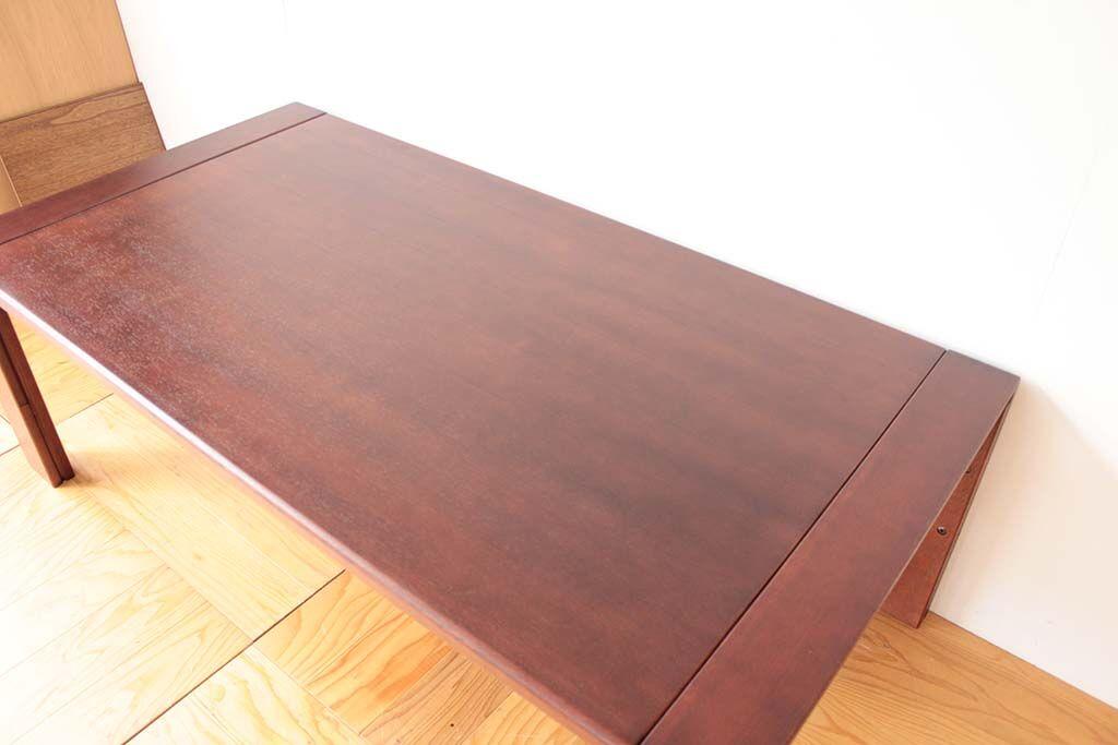 ローテーブルをソファで使えるよう高くサイズアップとダーク色塗装へリメイク 天板も塗装