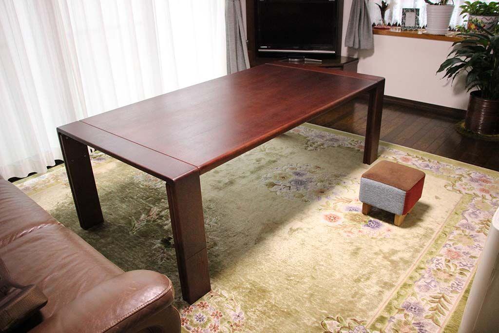 ローテーブルをソファで使えるよう高くサイズアップとダーク色塗装へリメイク 納品画像