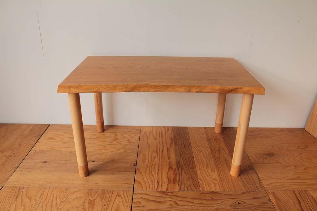 一枚板座卓をダイニングテーブルにリメイク