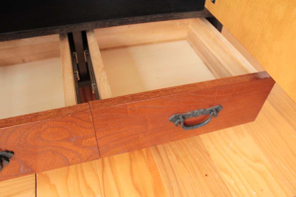 婚礼家具欅和ダンスから和モダンナイトキャビネットにリメイク 引き出し前板使用