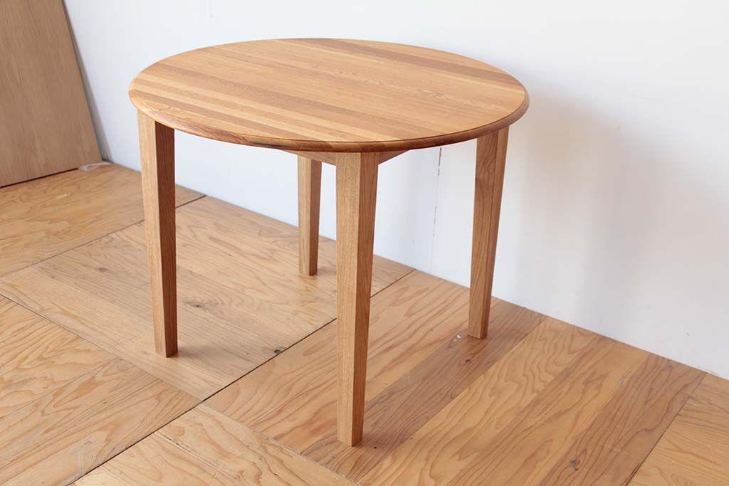樽オーク材丸テーブルをダイニングテーブルにリメイク