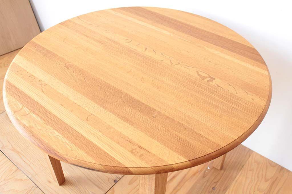樽オーク材テーブルをダイニングテーブルにリメイク 天板も綺麗に
