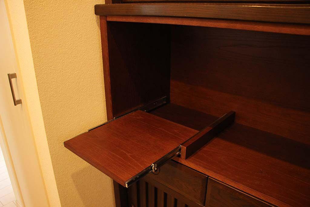 食器棚中段オープン棚を足して電化製品も置けるようサイズアップリメイク スライドテーブル