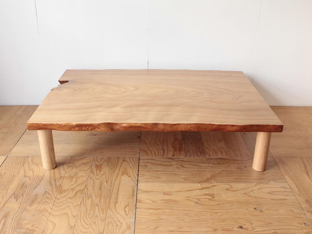 天板厚15cmあった座卓を天板厚約7cmの座卓にリメイク