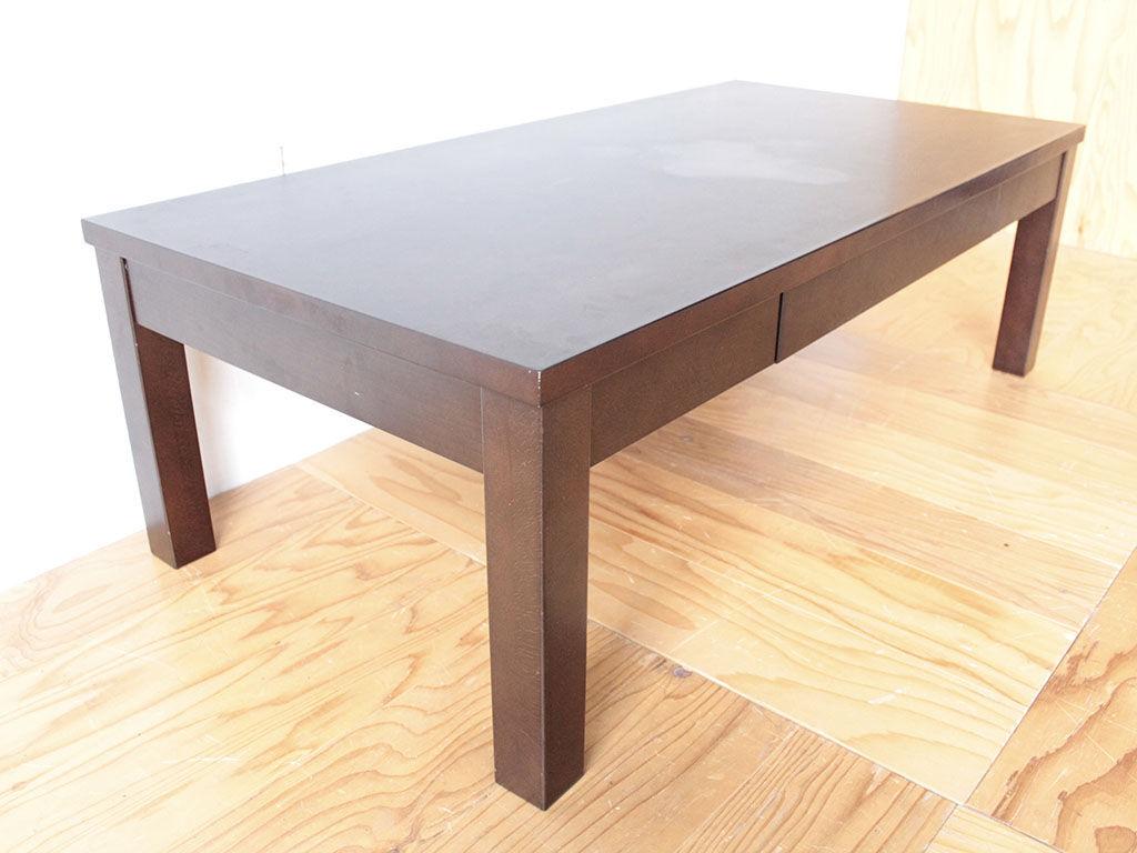 リメイクのご依頼をいただいたダーク色の引き出し付きローテーブル