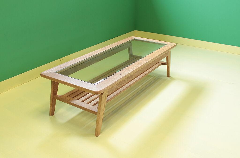 無垢オーク×ガラストップのリビングテーブル『CALM LivingTable1』