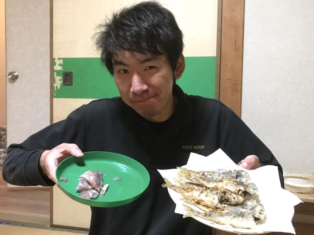 釣ったお魚で刺身と唐揚げ
