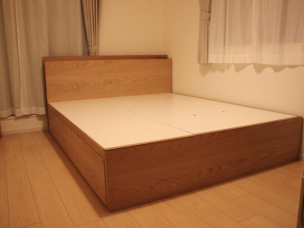 収納付きベッドの組み立て完了写真
