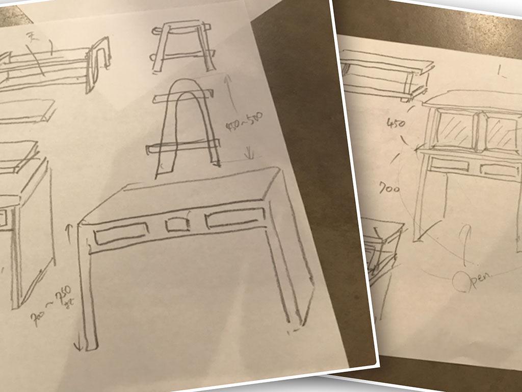 お客様へのヒアリングをもとに出てきた『家具作りたいおっさん』のアイデアスケッチ