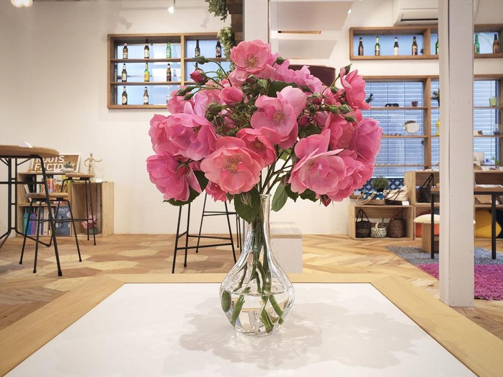 ルーツファクトリーのローテーブル『JYU-NI TABLE S60』に飾ったお花