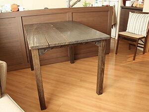 浮づくり天板や幕板飾りを活かして座卓からダイニングテーブルにリメイク アイキャッチ