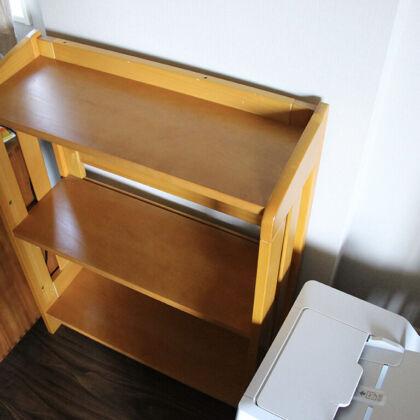 ご希望いただいた設置場所に綺麗に収まったリメイク本棚