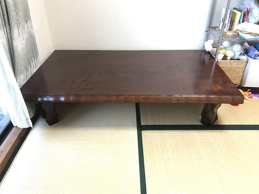 お客様のお家でご相談しながら座卓の奥行きのみをリサイズすることに
