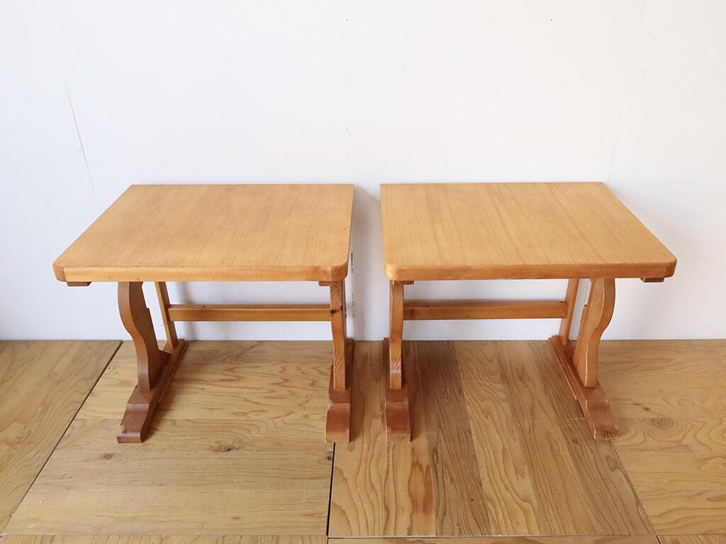 パインのダイニングテーブルを分割して2台のデスクにリメイク